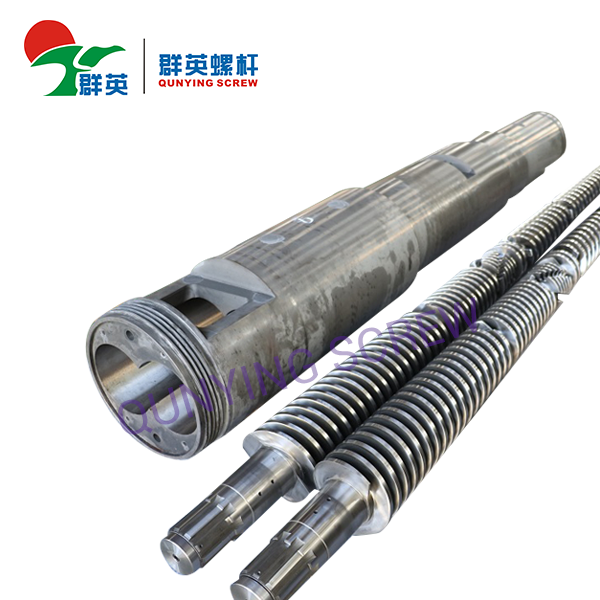 PVC Pipe Plastic Extruder Machine Bimetallic Conical Double Barrel And Screw